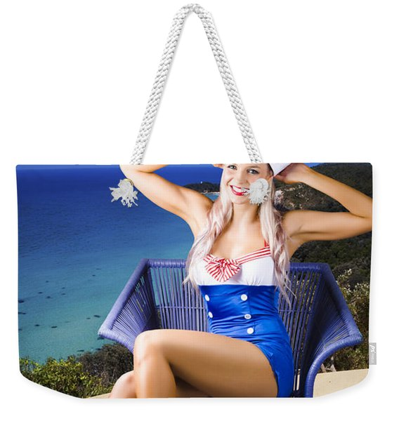 Pinup Woman On A Tropical Beach Travel Tour Weekender Tote Bag