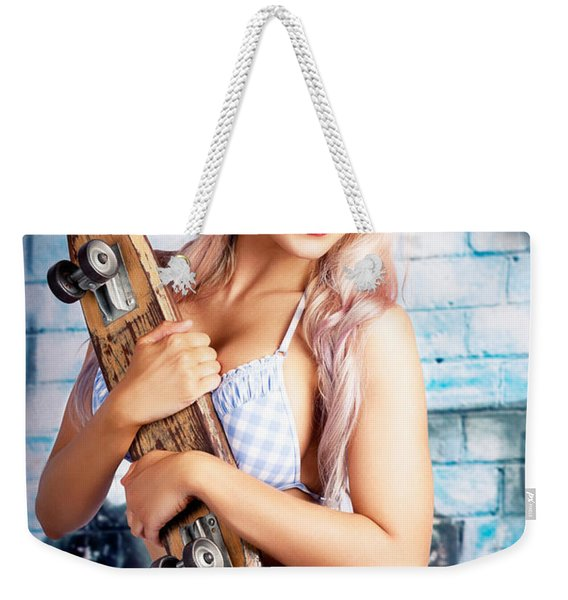 Portrait Of A Young Grunge Woman On Graffiti Wall Weekender Tote Bag