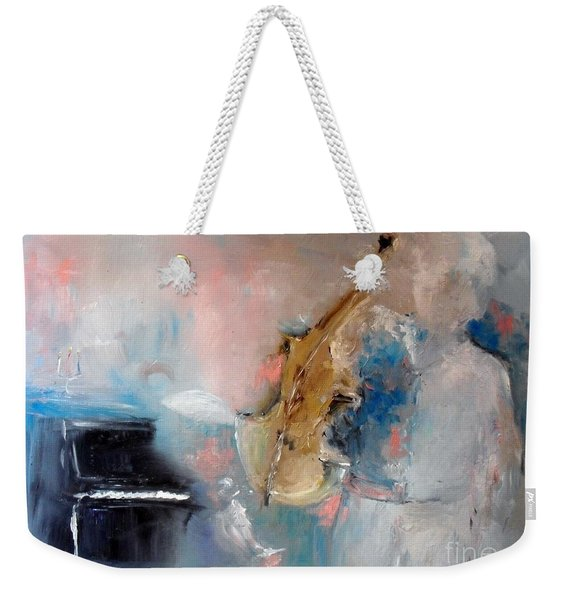 Weekender Tote Bag featuring the painting Practice by Laurie Lundquist