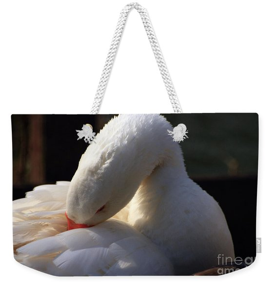 Weekender Tote Bag featuring the photograph Preening Goose by Jeremy Hayden