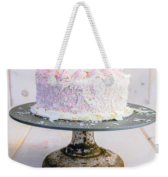 Raspberry White Chocolate Cake Weekender Tote Bag