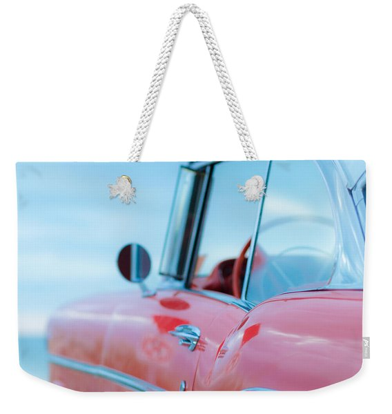 Red Chevy '57 Bel Air At The Beach Square Weekender Tote Bag