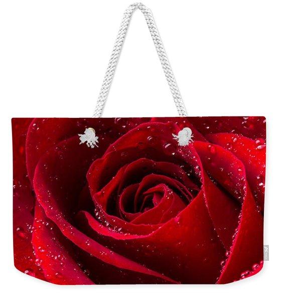 Red Rose With Dew Weekender Tote Bag