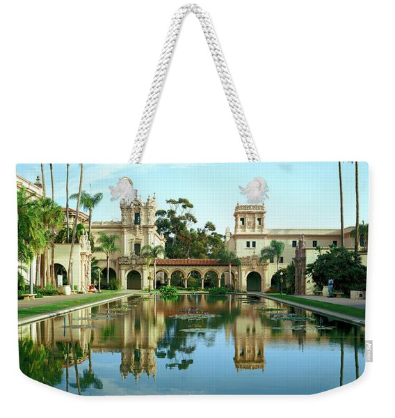 Reflecting Pool In Front Of A Building Weekender Tote Bag