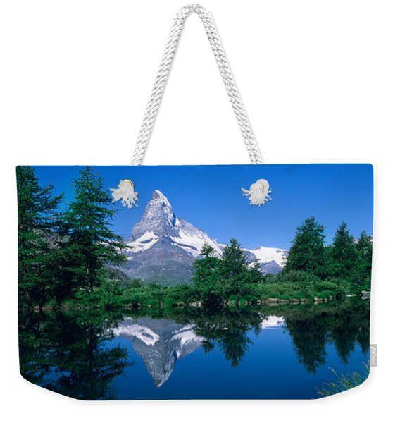 Reflection Of A Snow Covered Mountain Weekender Tote Bag