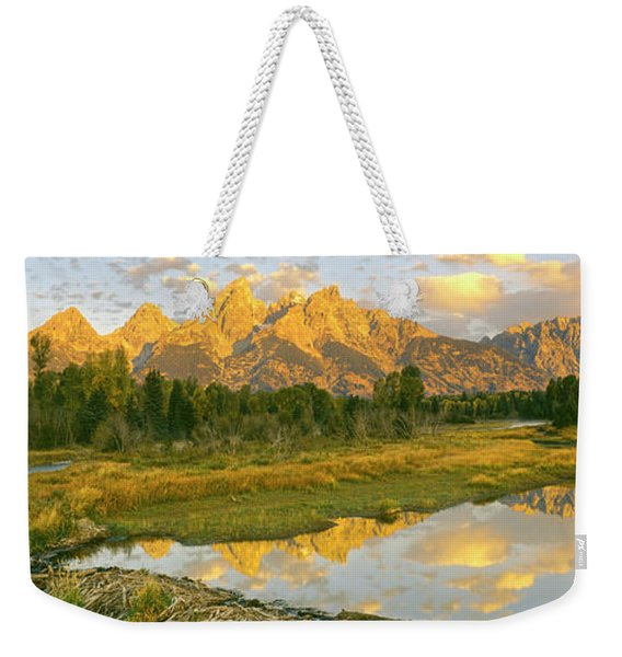 Reflection Of Clouds On Water, Beaver Weekender Tote Bag