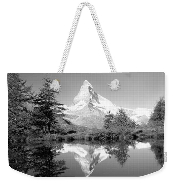 Reflection Of Trees And Mountain Weekender Tote Bag