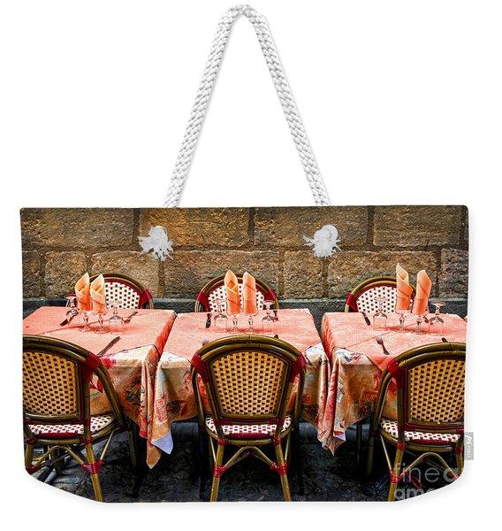 Restaurant Patio In France Weekender Tote Bag
