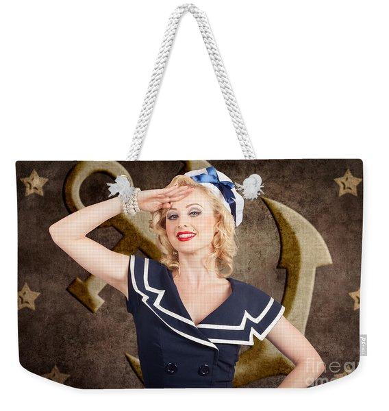 Retro Pin-up Sailor Woman. Retro 50s Fashion Style Weekender Tote Bag