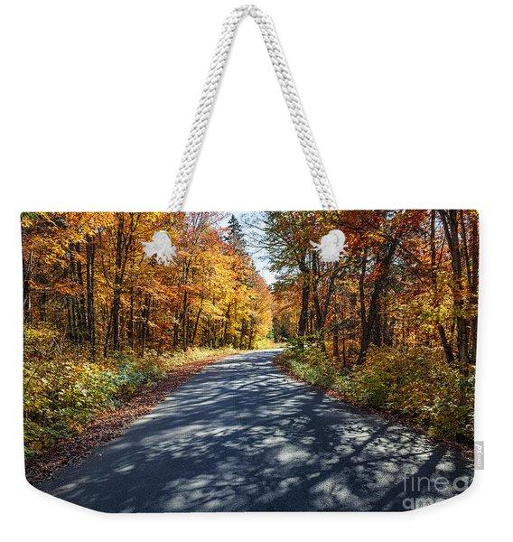 Road In Fall Forest Weekender Tote Bag