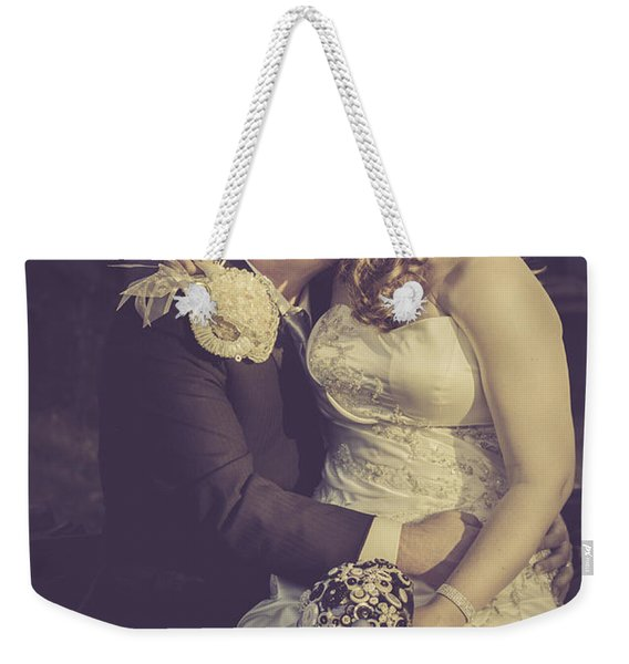 Romantic Bride And Groom Kissing Outdoors Weekender Tote Bag