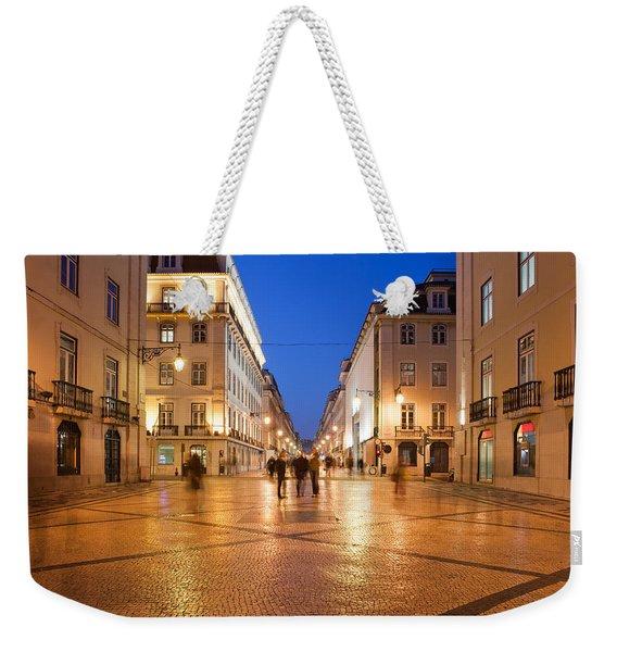 Rua Augusta Street At Night In Lisbon Weekender Tote Bag