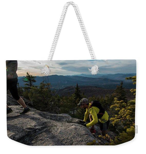 Runners On Black Cap In New Hampshire Weekender Tote Bag