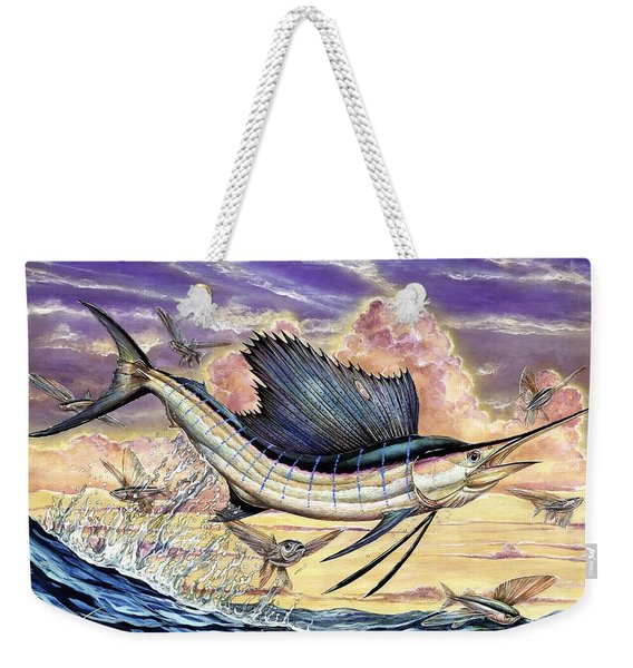 Sailfish And Flying Fish In The Sunset Weekender Tote Bag