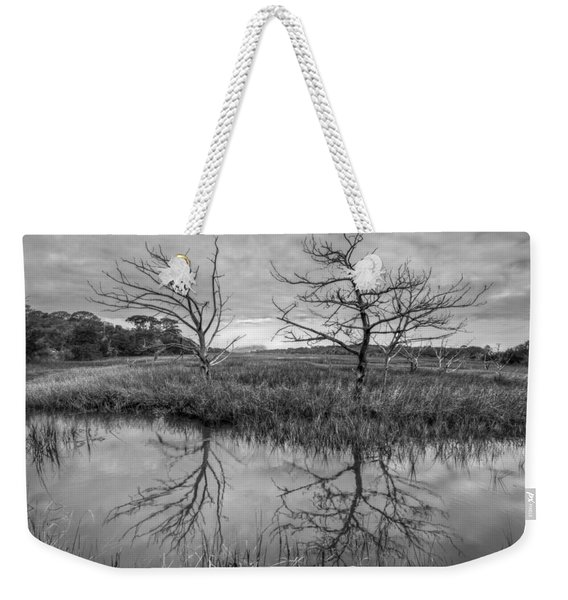 Salty Marsh At Jekyll Island In Black And White Weekender Tote Bag