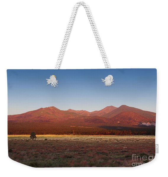 Weekender Tote Bag featuring the photograph San Francisco Peaks Sunrise by Jemmy Archer