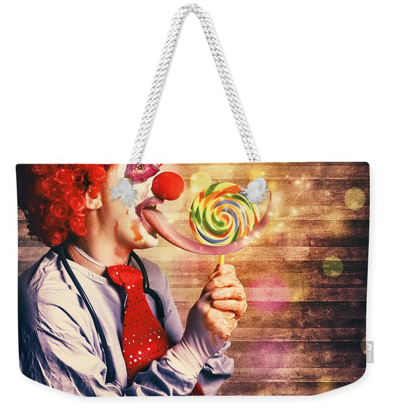 Scary Circus Clown At Horror Birthday Party Weekender Tote Bag
