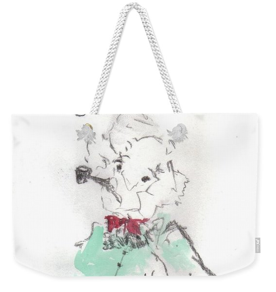 Weekender Tote Bag featuring the mixed media Scrooge by Laurie Lundquist