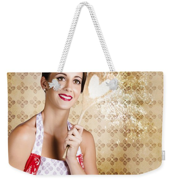 Smiling Female Cook Baking Cake With Sweet Love Weekender Tote Bag