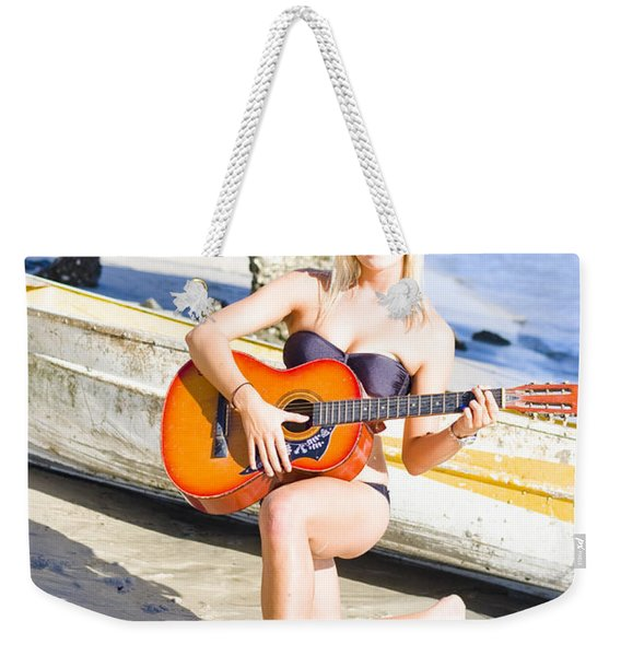 Smiling Girl Strumming Guitar At Tropical Beach Weekender Tote Bag