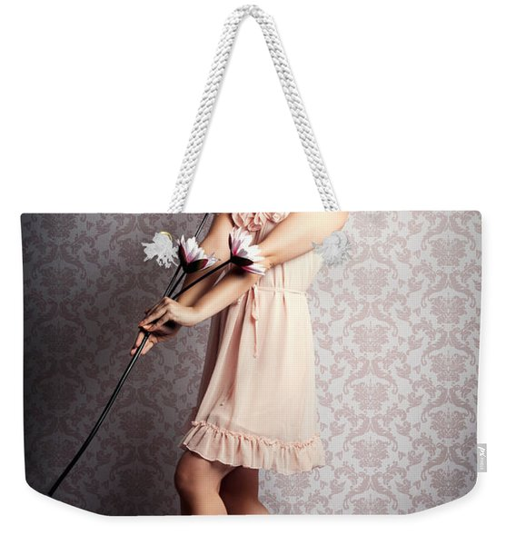 Smiling Retro Floral Girl In Elegant Pink Fashion Weekender Tote Bag