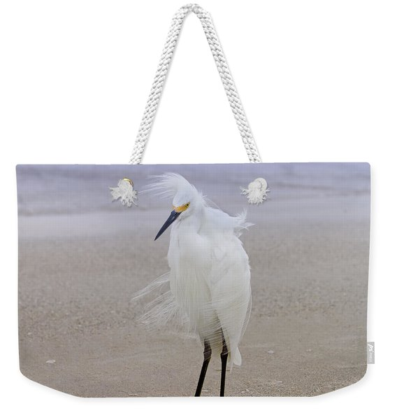Snowy Egret At The Beach Weekender Tote Bag