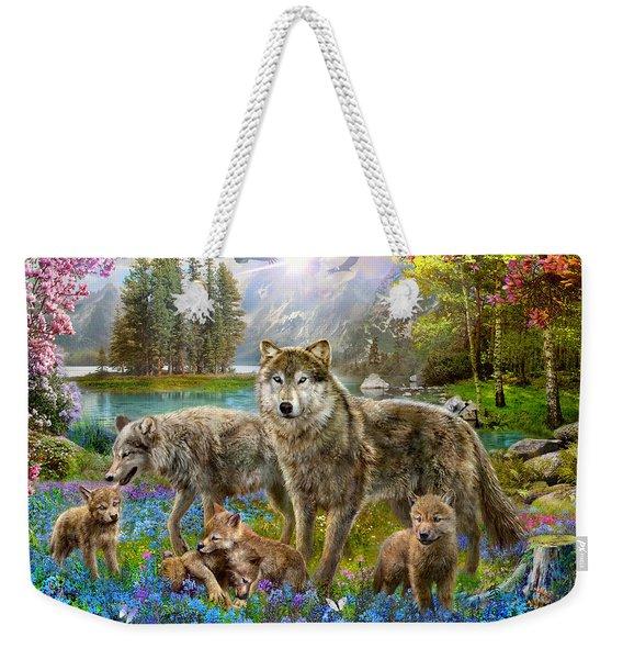 Spring Wolf Family Weekender Tote Bag