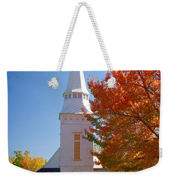 Weekender Tote Bag featuring the photograph St Matthew's In Autumn Splendor by Jeff Folger