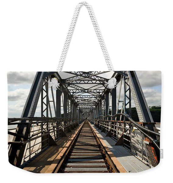 Steel Railway Bridge Over The River Weekender Tote Bag