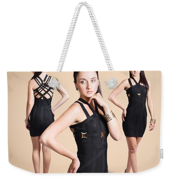 Stylish Girl Fashion Portrait On Tanned Background Weekender Tote Bag