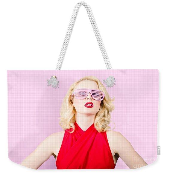 Summer Fashion Model. Girl In A Pink Sun Glasses Weekender Tote Bag