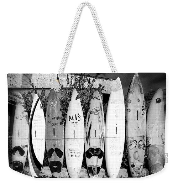 Surf Board Fence Maui Hawaii Weekender Tote Bag