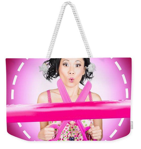 Surprised Hairdressing Woman With Beautiful Hair Weekender Tote Bag