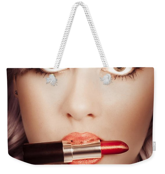 Surprised Pinup Girl With Lipstick Makeup In Mouth Weekender Tote Bag