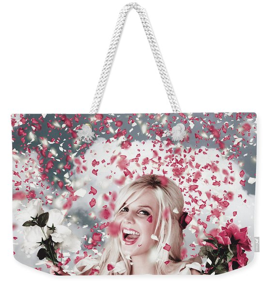 Tender Woman With Flowers. Romantic Celebration Weekender Tote Bag