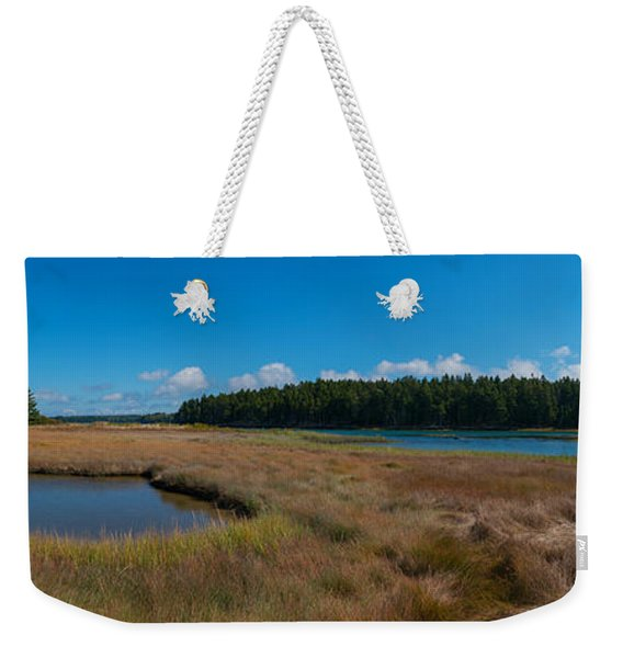 Thompson Island In Maine Panorama Weekender Tote Bag