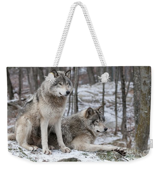 Timber Wolf Pair In Forest Weekender Tote Bag