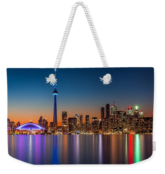 Weekender Tote Bag featuring the photograph Toronto Skyline At Dusk by Mihai Andritoiu
