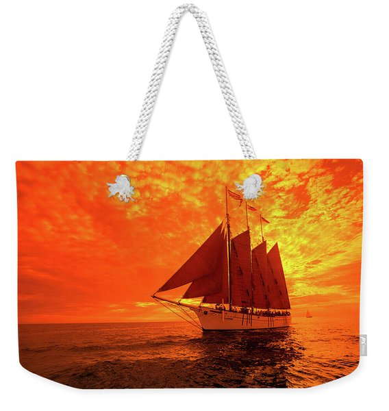 Tourists On Sailboat In The Pacific Weekender Tote Bag
