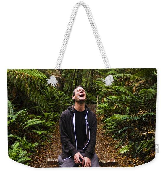 Travel Man Laughing In Tasmania Rainforest Weekender Tote Bag