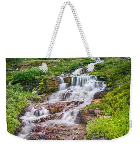 Triple Falls Stream Glacier National Park Weekender Tote Bag
