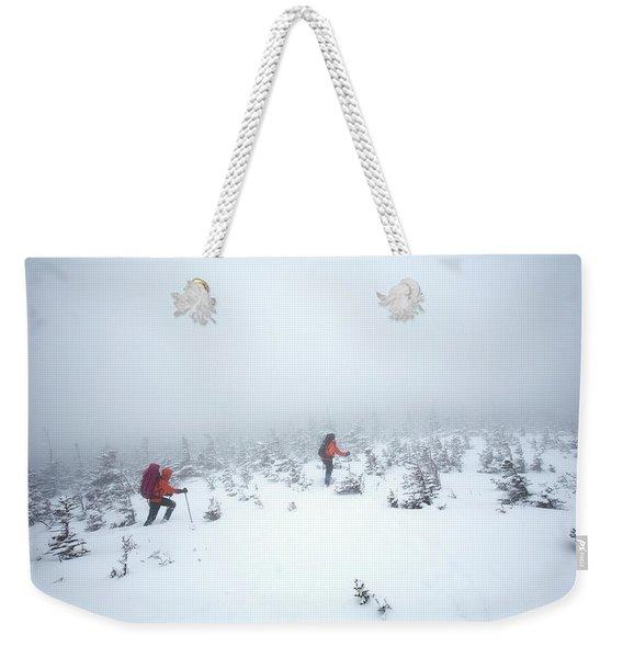 Two Men Hiking In The Snow On Mt Weekender Tote Bag