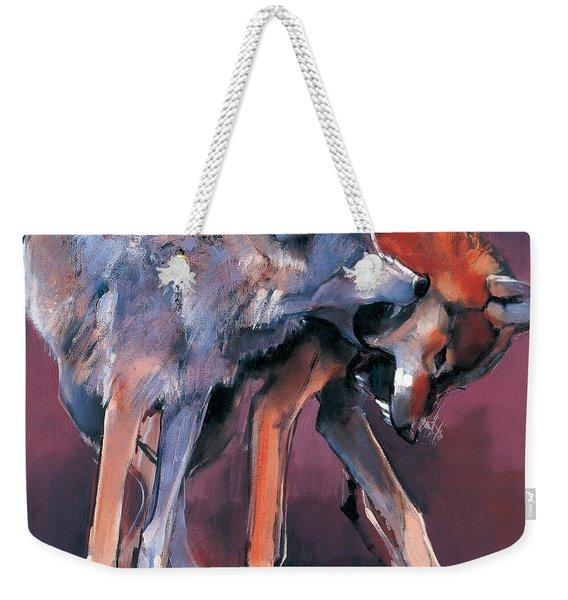 Two Wolves Weekender Tote Bag