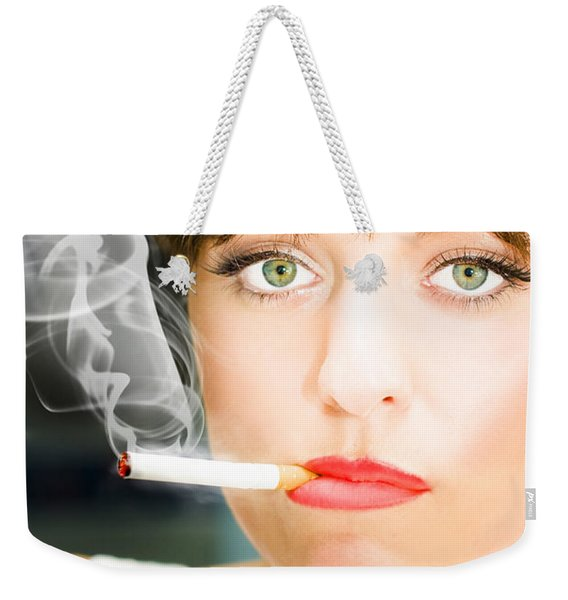 Unhappy Woman Smoking Cigarette Weekender Tote Bag