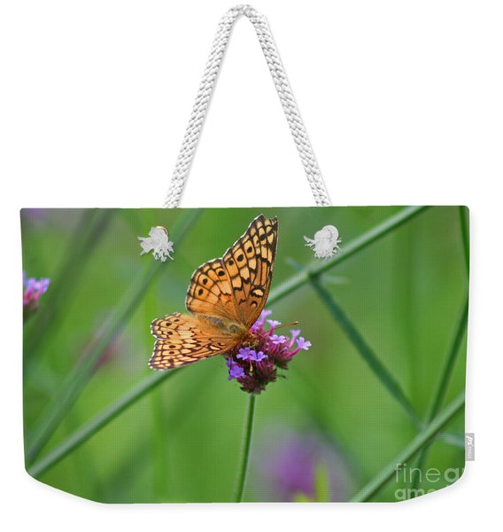 Variegated Fritillary Butterfly In Field Weekender Tote Bag