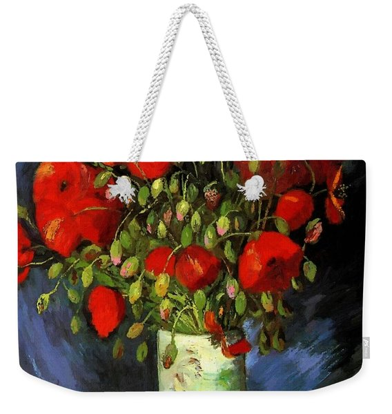 Vase With Red Poppies Weekender Tote Bag