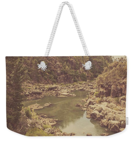Vintage Rocky Mountain River In Forest Canyon Weekender Tote Bag