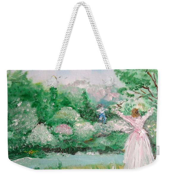 Weekender Tote Bag featuring the painting Welcome Home Love by Laurie Lundquist