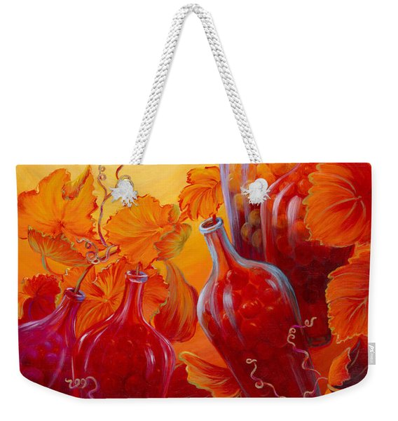 Weekender Tote Bag featuring the painting Wine On The Vine II by Sandi Whetzel