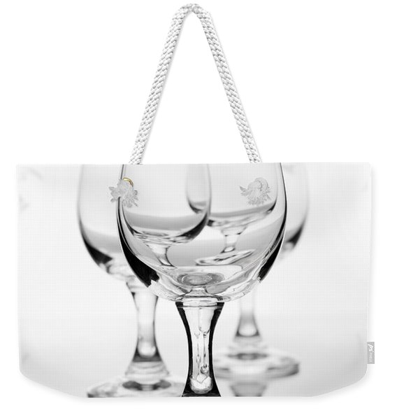 Three Empty Wine Glasses On White  Weekender Tote Bag